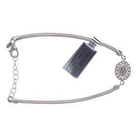 Bracciale  in argento 925 con medaglia Miracolosa e strass s1