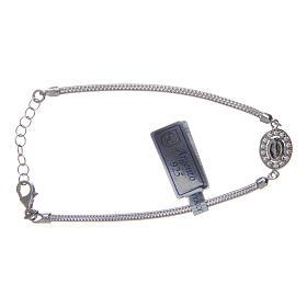 Bracciale  in argento 925 con medaglia Miracolosa e strass s2