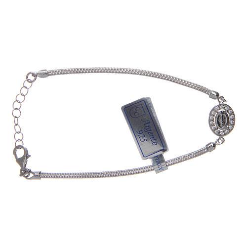 Bracciale  in argento 925 con medaglia Miracolosa e strass 2