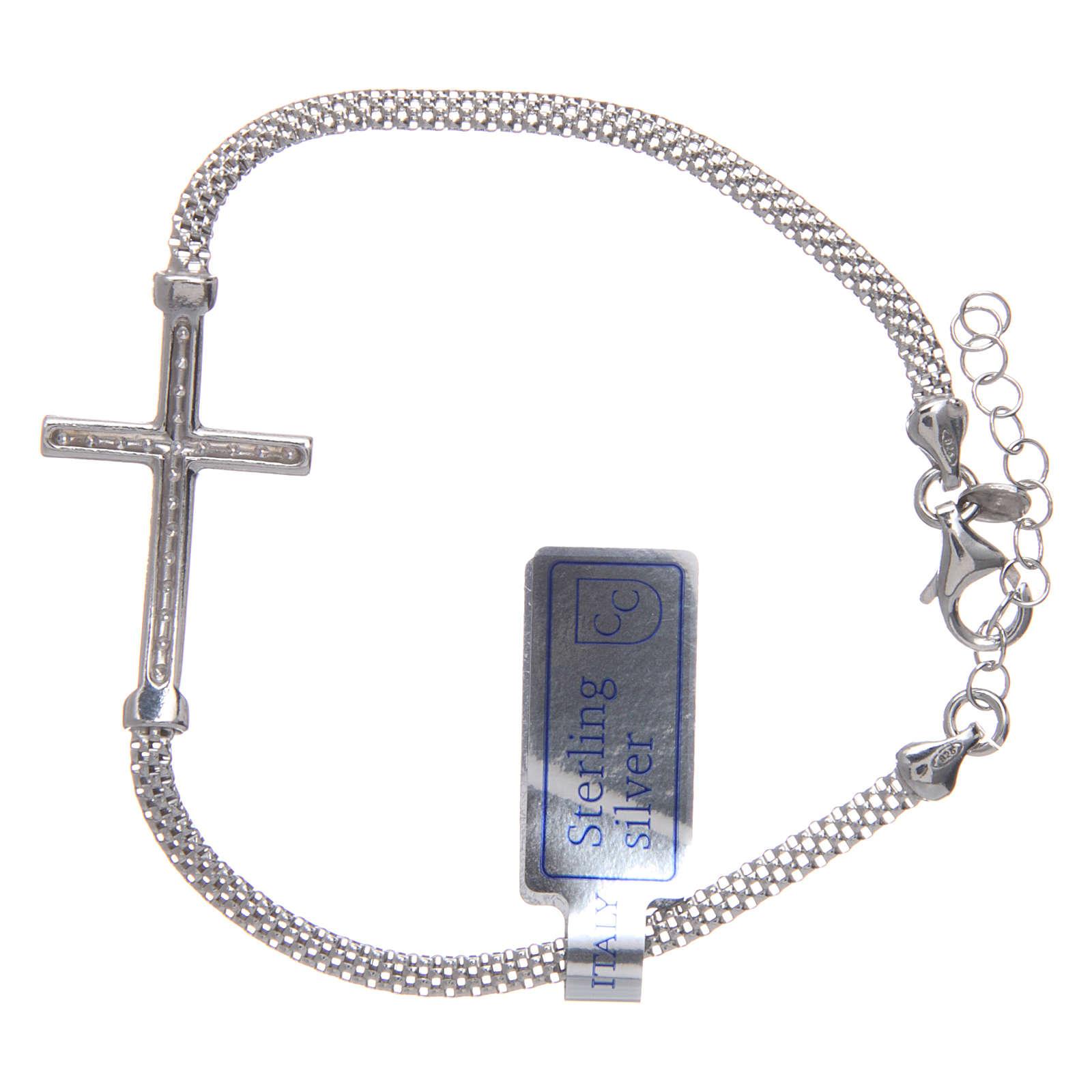 Bracciale  in argento 925 rodiato Croce con strass 4