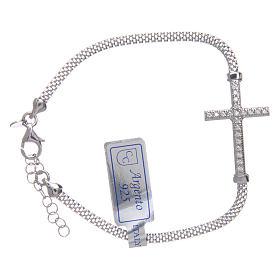 Bracciale  in argento 925 rodiato Croce con strass s1