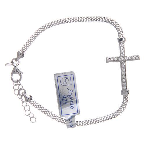 Bracciale  in argento 925 rodiato Croce con strass 1