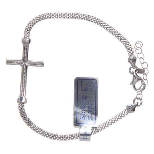 Bracciale  in argento 925 rodiato Croce con strass 2