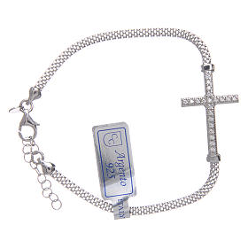 Silver bracelets: Bracelet in 925 sterling silver finished in rhodium with cross and strass