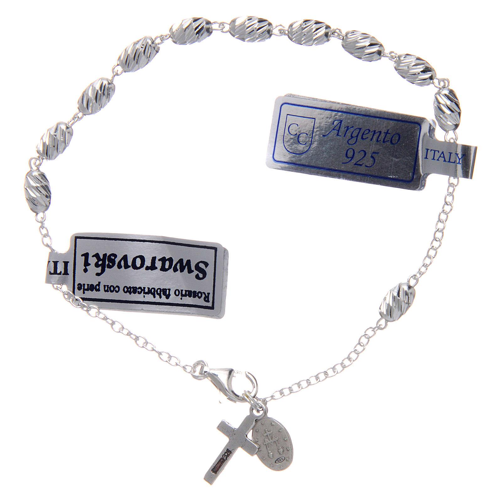 Bracciale in argento 925 medaglia Miracolosa grani ovali 4