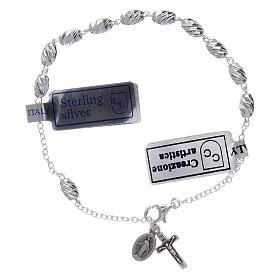 Bracciale in argento 925 medaglia Miracolosa grani ovali