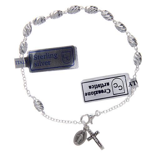Bracciale in argento 925 medaglia Miracolosa grani ovali 1