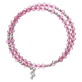 Spiral bracelet with pink Swarovski crystals s1