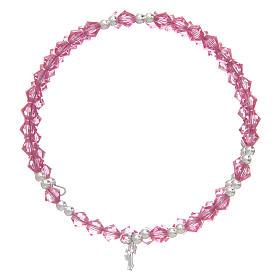 Spiral bracelet with pink Swarovski crystals s2