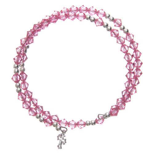 Spiral bracelet with pink Swarovski crystals 1