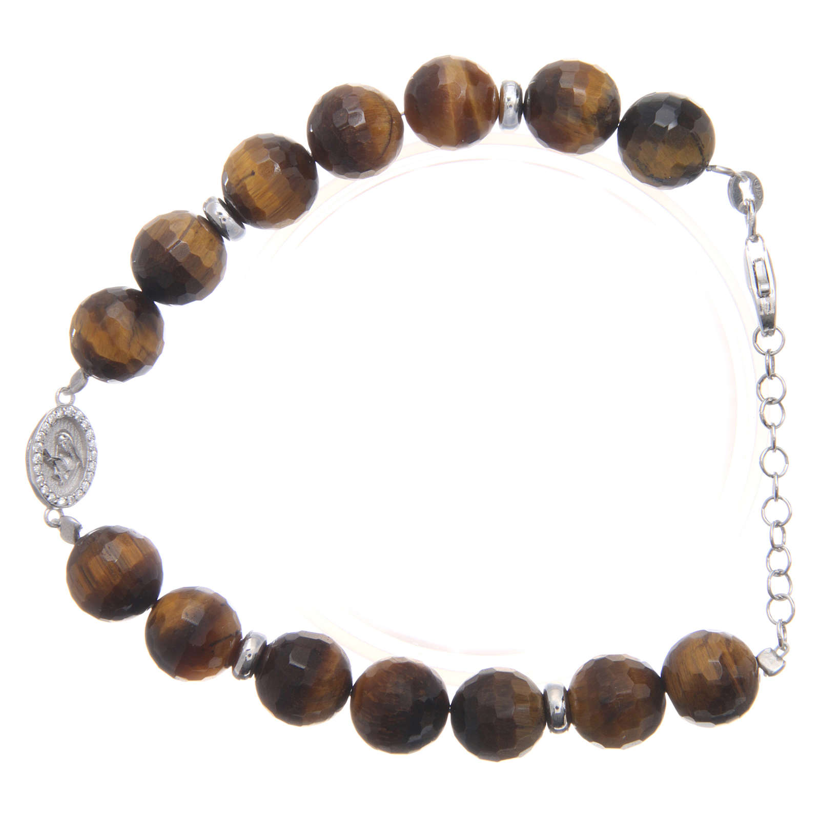 Bracelet with tiger's eye beads 9 mm and white zirconate medal in 925 sterling silver 4