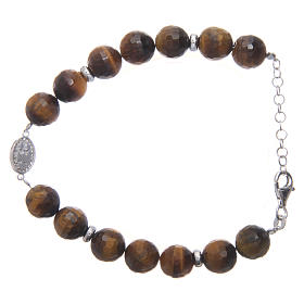 Bracelet with tiger's eye beads 9 mm and white zirconate medal in 925 sterling silver s2