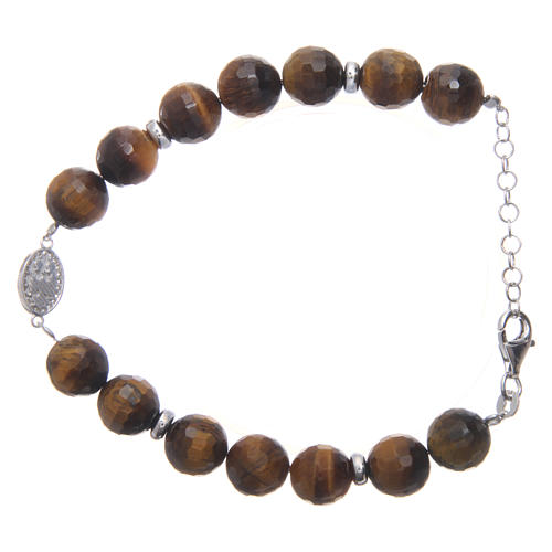 Bracelet with tiger's eye beads 9 mm and white zirconate medal in 925 sterling silver 2