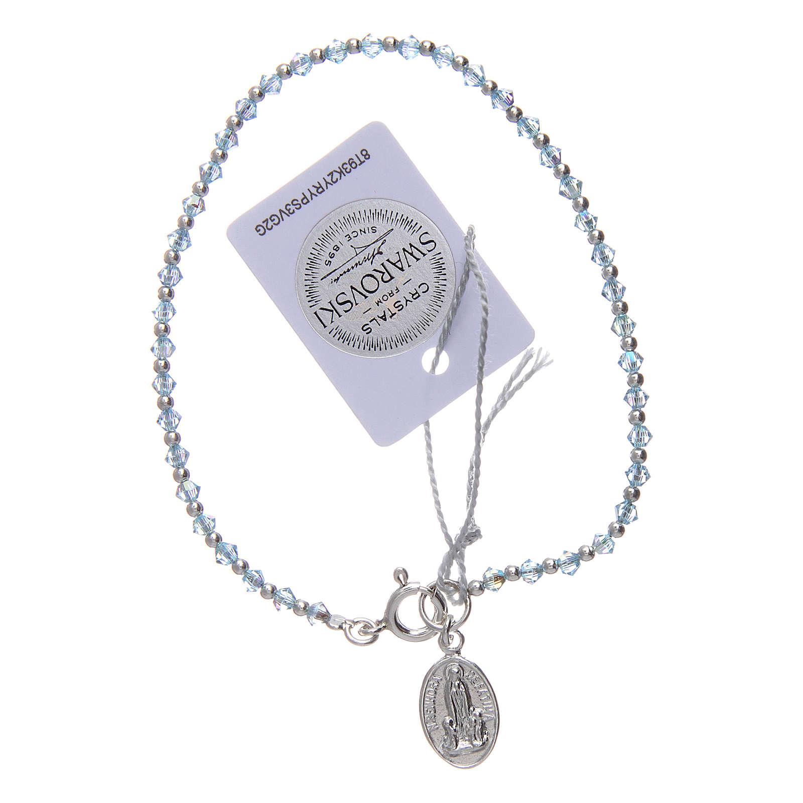 Bracciale argento e Swarovski azzurro 100° anniversario Fatima 3 mm 4