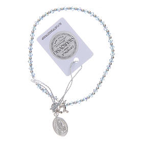 Bracciale argento e Swarovski azzurro 100° anniversario Fatima 3 mm s1