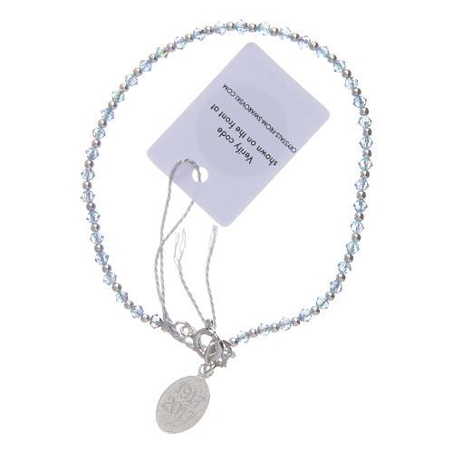 Bracciale argento e Swarovski azzurro 100° anniversario Fatima 3 mm 2