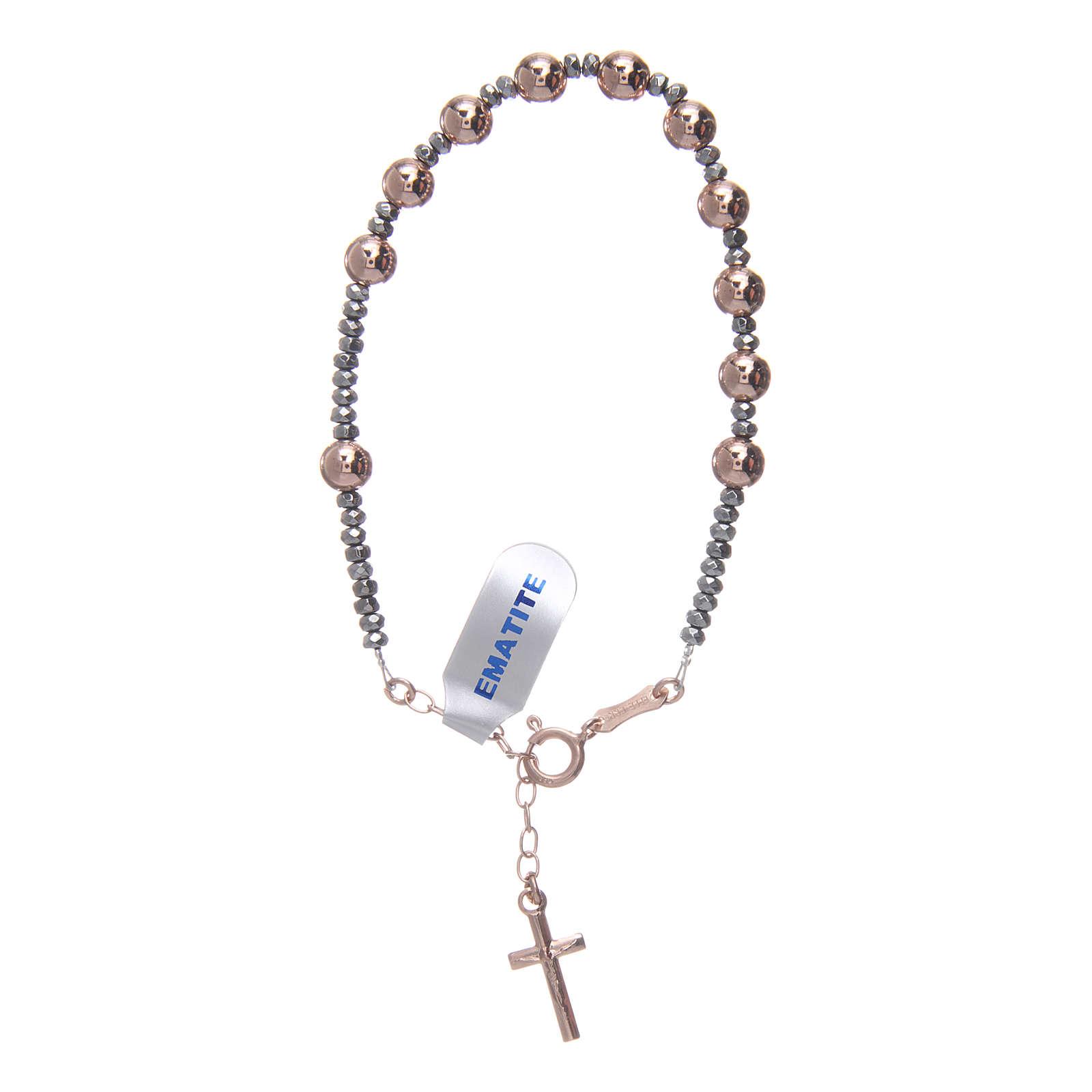 Bracciale rosario argento 925 cavetto palline lisce ematite rosé 4