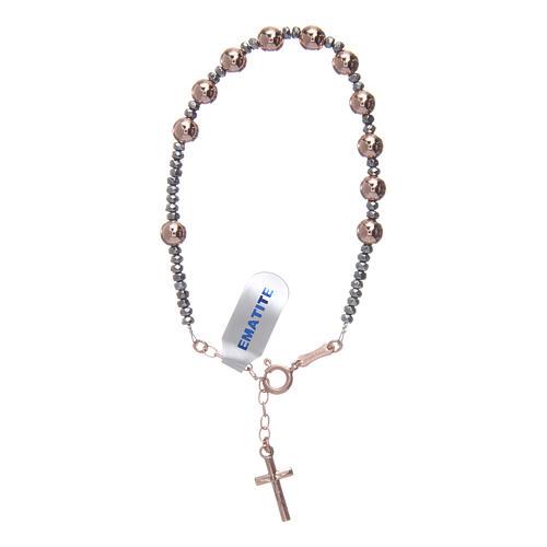 Bracciale rosario argento 925 cavetto palline lisce ematite rosé 1