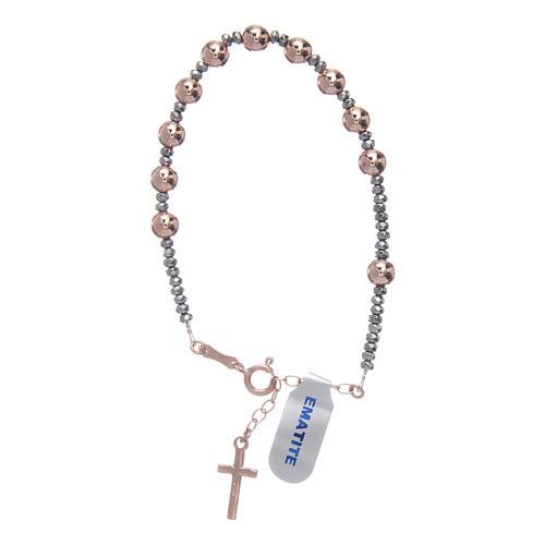 Bracciale rosario argento 925 cavetto palline lisce ematite rosé 2
