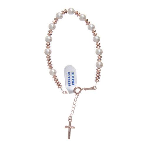 Bracciale rosario in cavetto argento 925 palline perla e rondelle ematite rosé 1