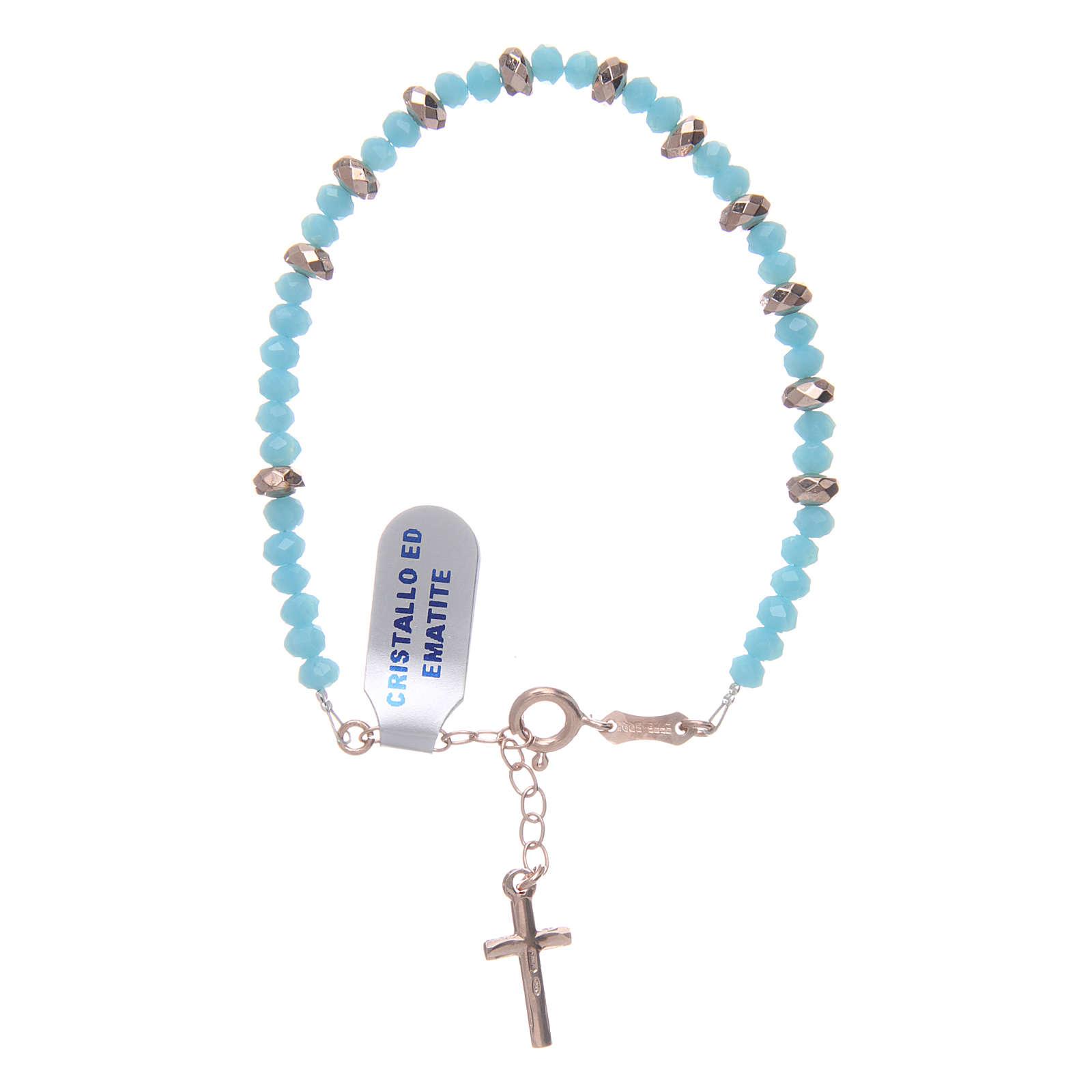 Bracciale rosario argento 925 cavetto cristallo azzurro cipollina e rondelle ematite rosé 4