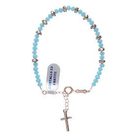 Bracciale rosario argento 925 cavetto cristallo azzurro cipollina e rondelle ematite rosé s2