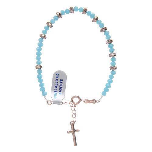Bracciale rosario argento 925 cavetto cristallo azzurro cipollina e rondelle ematite rosé 2