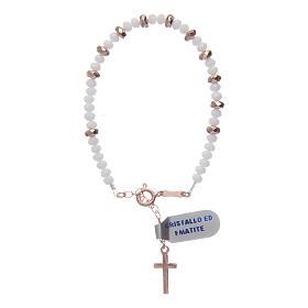 Bracciale rosario argento 925 cavetto cristallo bianco cipollina e rondelle ematite rosé s2