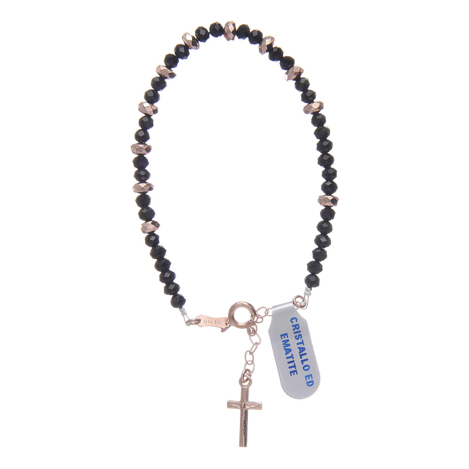 Bracciale rosario argento 925 cavetto cristallo nero cipollina e rondelle ematite rosé 4