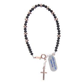 Bracciale rosario argento 925 cavetto cristallo nero cipollina e rondelle ematite rosé s2