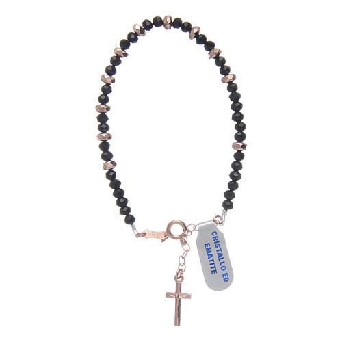 Bracciale rosario argento 925 cavetto cristallo nero cipollina e rondelle ematite rosé 2