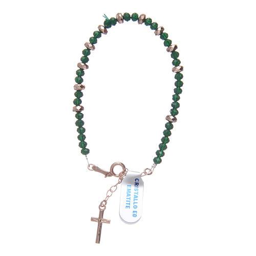 Bracciale rosario argento 925 cavetto cristallo verde cipollina e rondelle ematite rosé 1