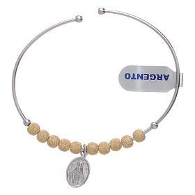 Bracciale rosario argento 925 dorato palline diamantate Miracolosa 5 mm s1