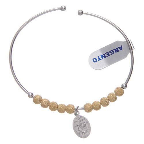 Bracciale rosario argento 925 dorato palline diamantate Miracolosa 5 mm 2