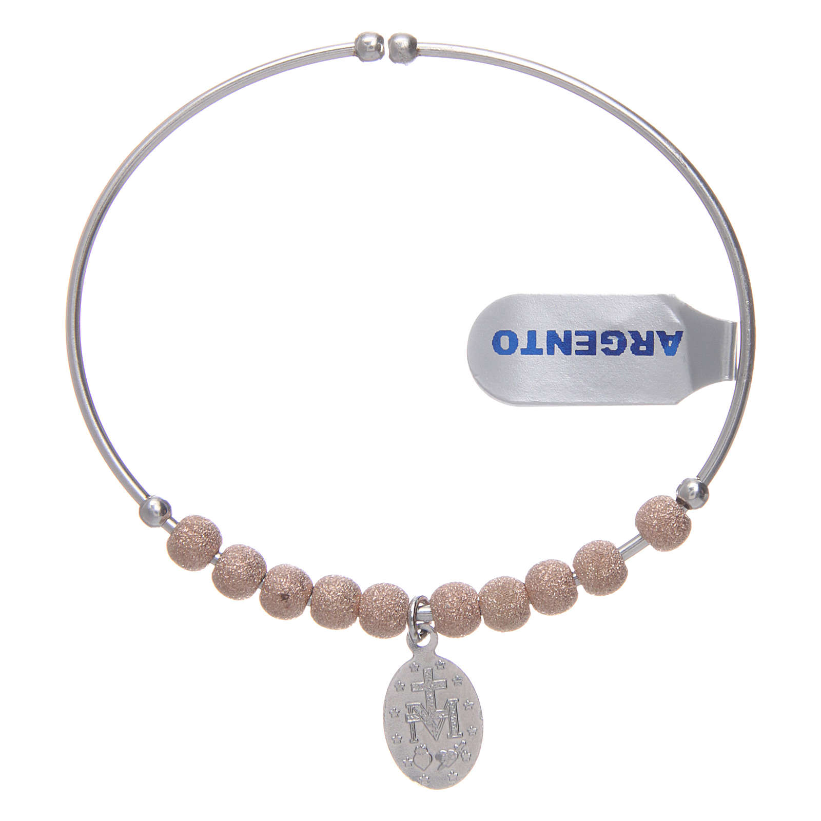 Bracciale rosario argento 925 rosé palline diamantate Miracolosa 5 mm 4