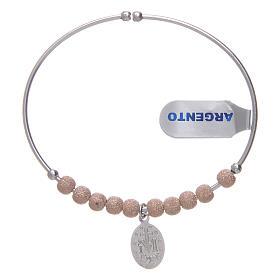 Bracciale rosario argento 925 rosé palline diamantate Miracolosa 5 mm s2