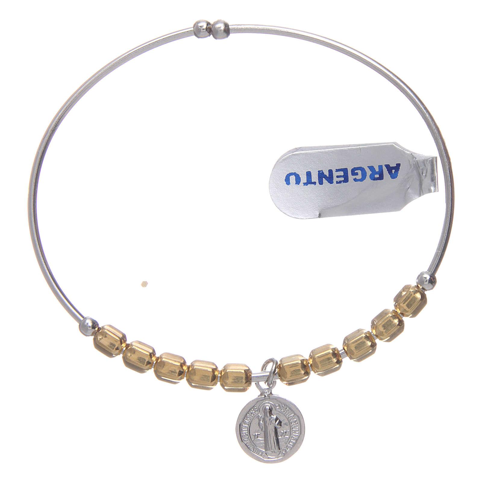 Bracciale rosario argento 925 dorato palline esagonali 5 mm San Benedetto 4