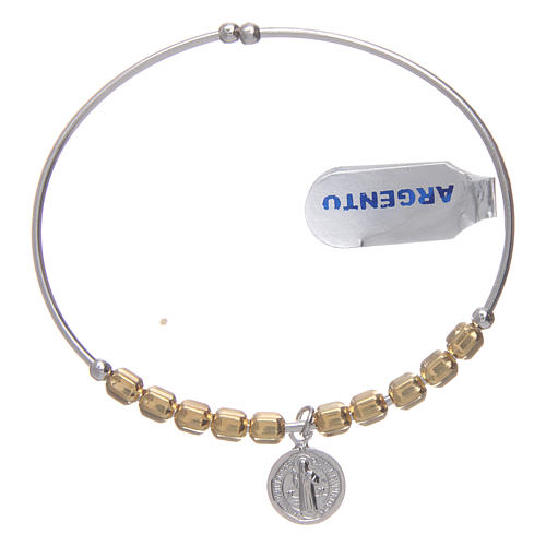Bracciale rosario argento 925 dorato palline esagonali 5 mm San Benedetto 1