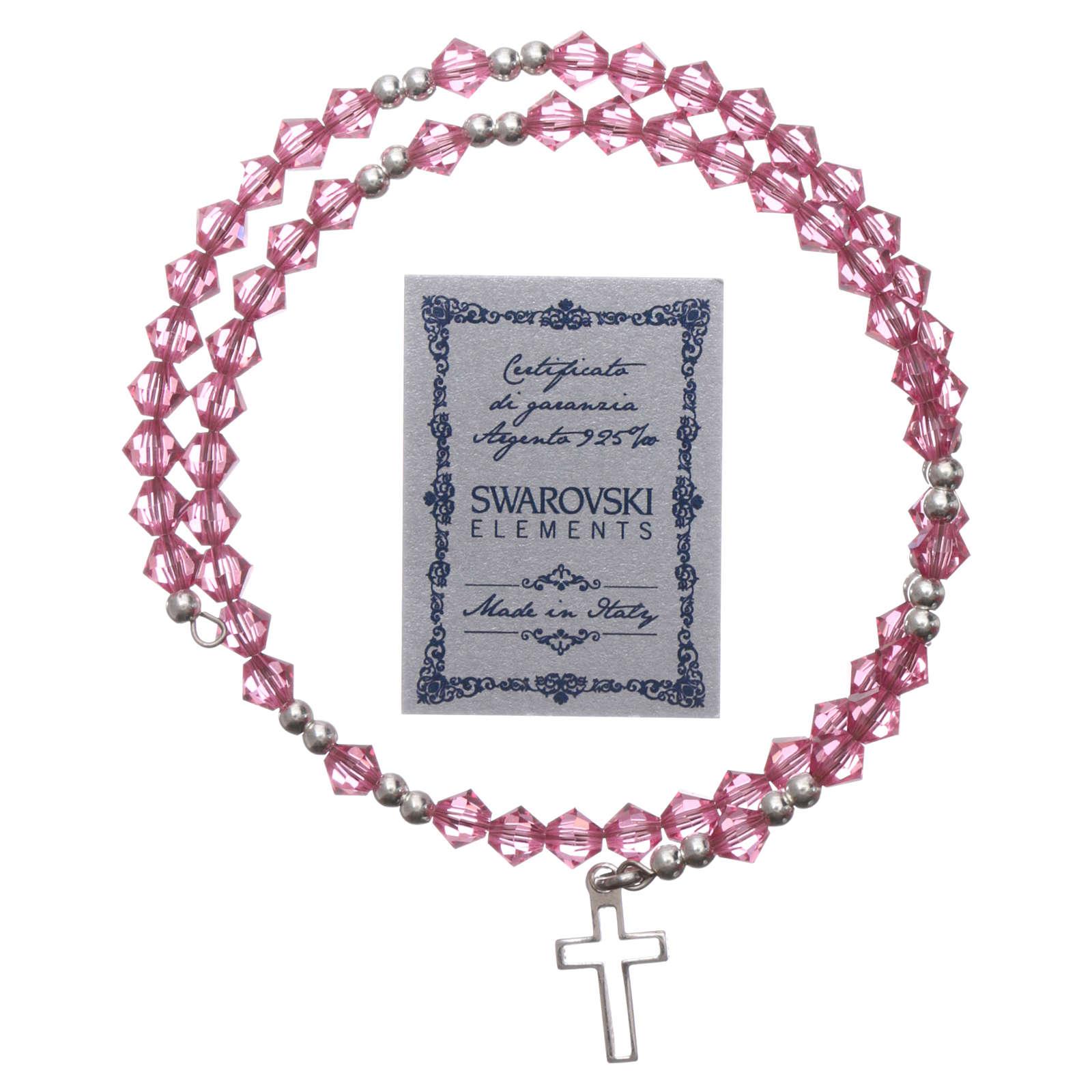 Bracciale rosario argento  Swarovsky rosa 4