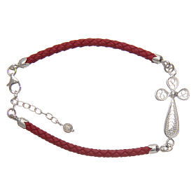 Bracelet in red eco-leather and filigree cross 925 silver s1