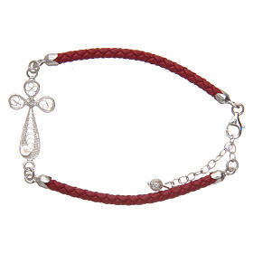 Bracelet in red eco-leather and filigree cross 925 silver s2