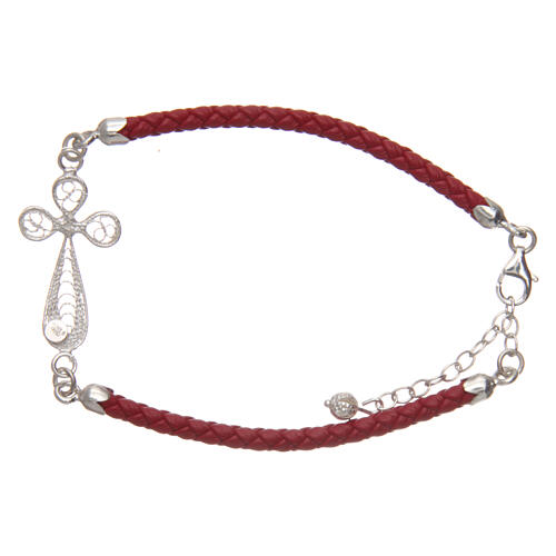 Bracelet in red eco-leather and filigree cross 925 silver 2