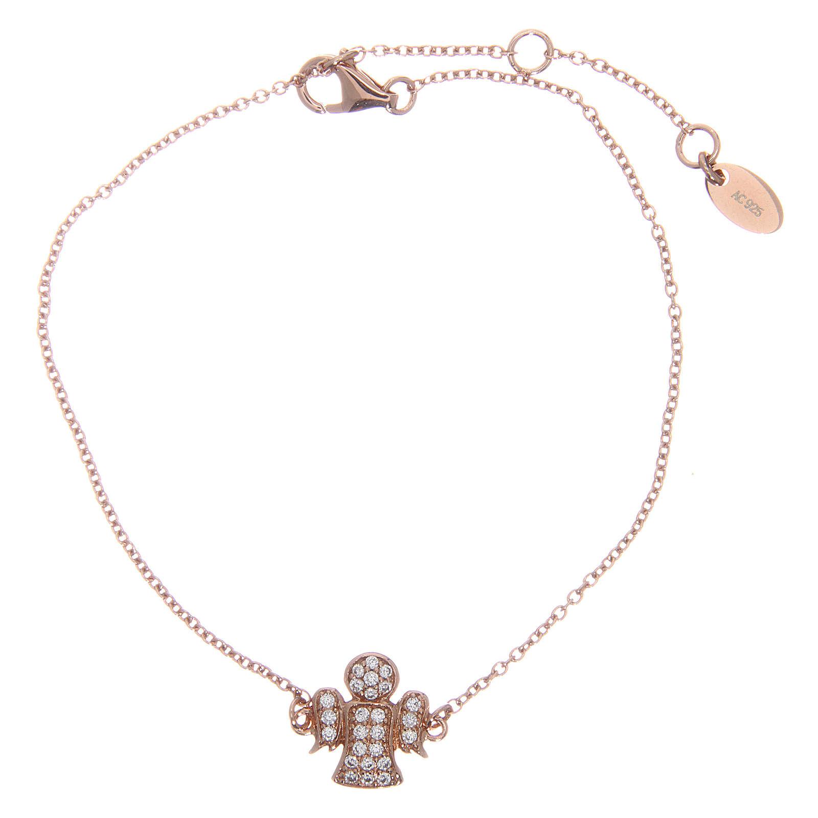 Bracelet AMEN argent 925 ange rosé zircons blancs 4