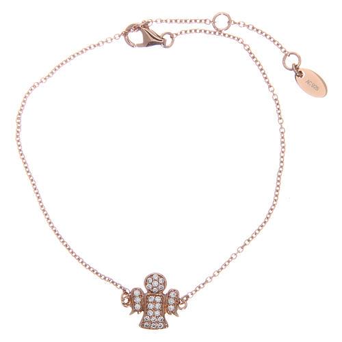 Bracelet AMEN argent 925 ange rosé zircons blancs 1