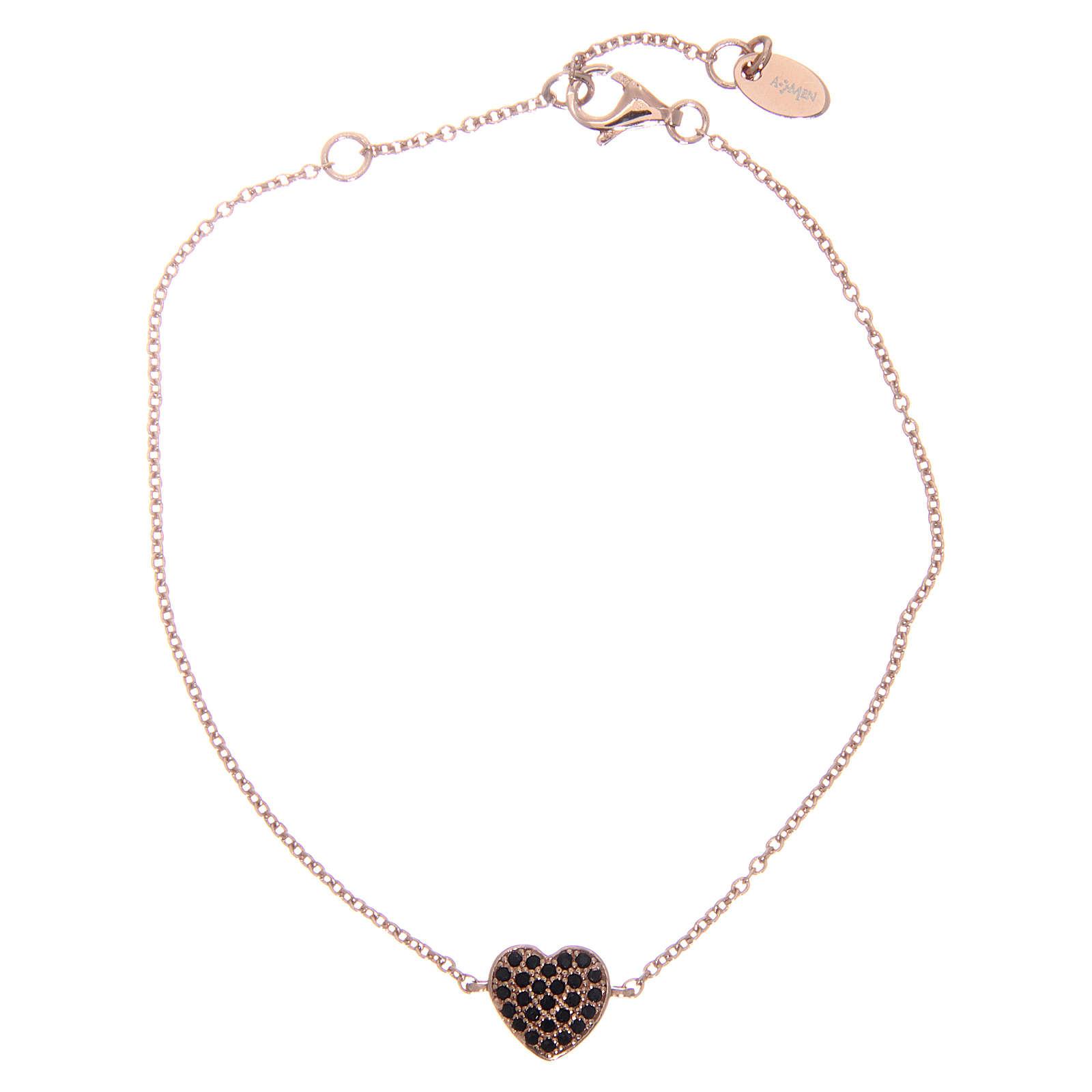 Bracelet AMEN argent 925 coeur rosé zircons noirs 4