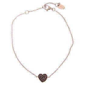 Bracelet AMEN argent 925 coeur rosé zircons noirs s1