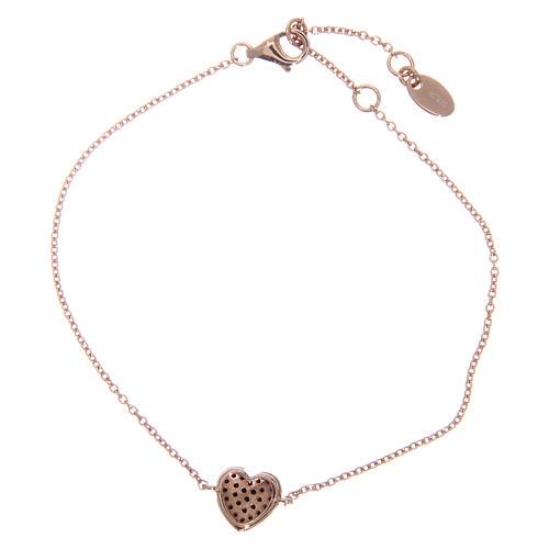 Bracelet AMEN argent 925 coeur rosé zircons noirs 2