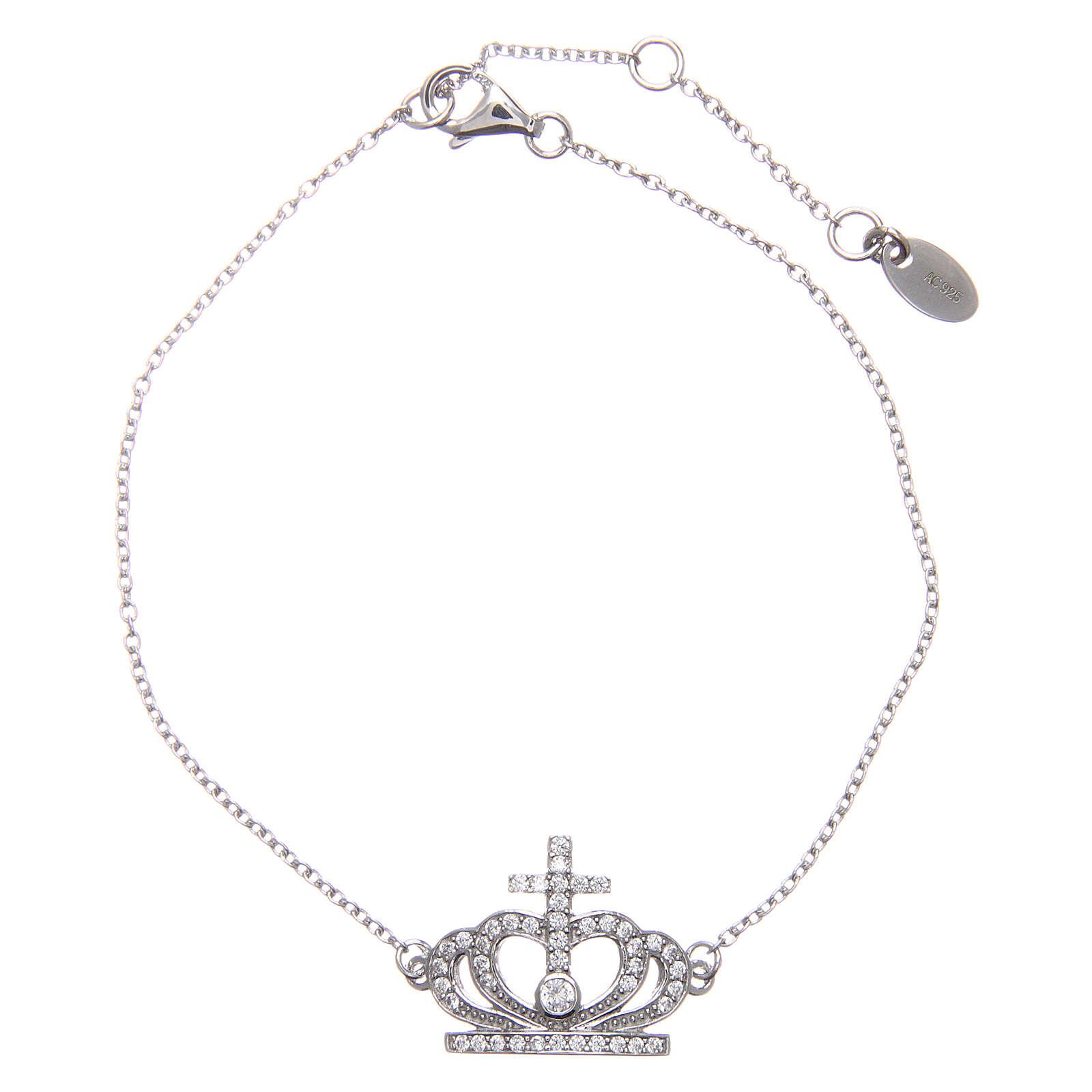 Bracelet AMEN argent 925 rhodié couronne zircons blancs 4