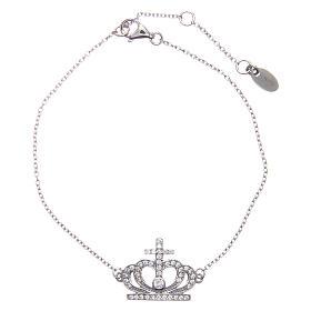 Bracelet AMEN argent 925 rhodié couronne zircons blancs s1