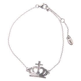 Bracelet AMEN argent 925 rhodié couronne zircons blancs s2